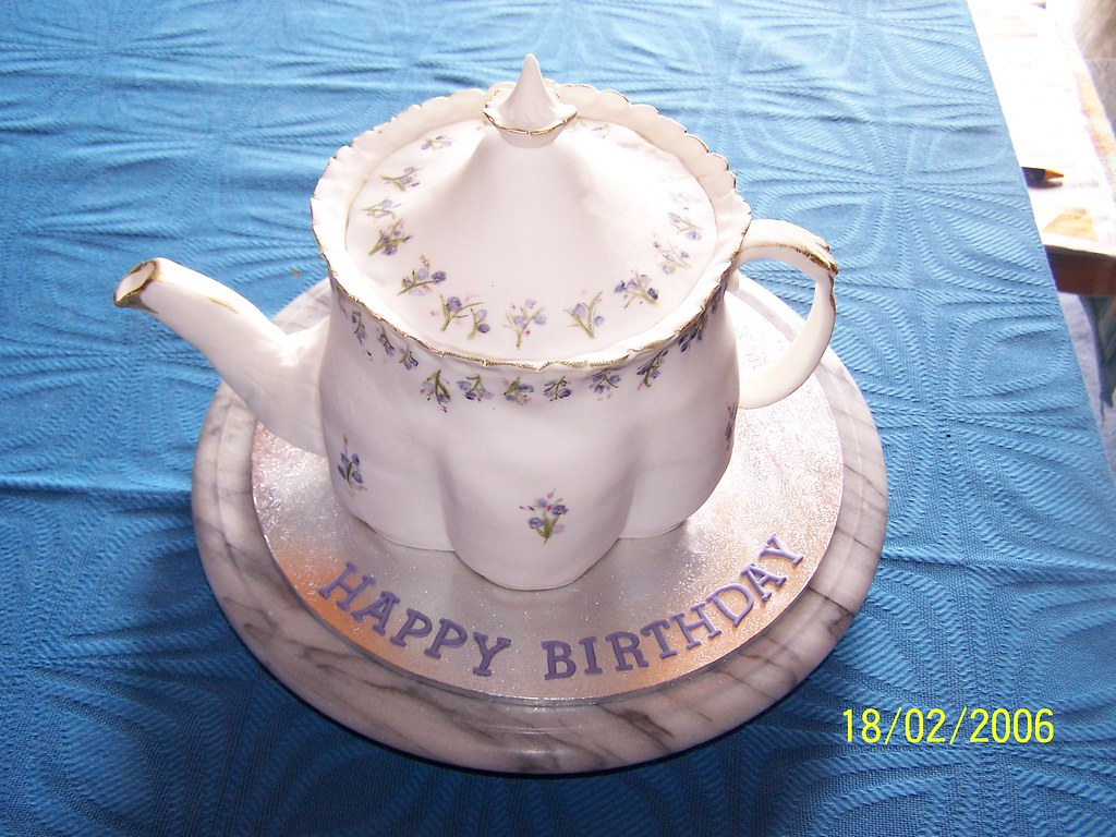 Admirable Teapot Birthday Cake Carrot Cake Covered In Fondant Icing Flickr Personalised Birthday Cards Cominlily Jamesorg
