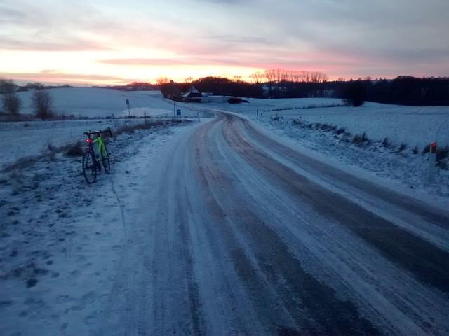 Icy road bike ride
