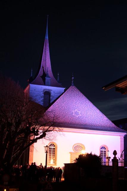 Kirche Murten ( Gotteshaus reformiert - Erwähnt 1399 - Chiuche church église temple chiesa ) in der Kirchgasse in der Altstadt - Stadt Murten - Ville de Morat ( Zähringerstadt Städtchen ) im Seebezirk im Kanton Freiburg - Fribourg der Schweiz