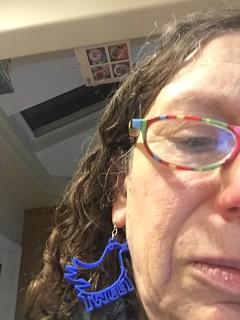 Twitter earrings I designed & printed on my library's 3D printer