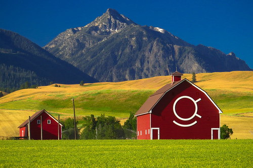 Red Barn with Eagle Cap Wilderness Mountain in Background, Wallowa Whitman National Forest | by Forest Service Pacific Northwest Region