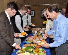 Today's lunch, prepared by our new caterer Stephens Catering Service in Wake Forest, was especially appreciated by the members.