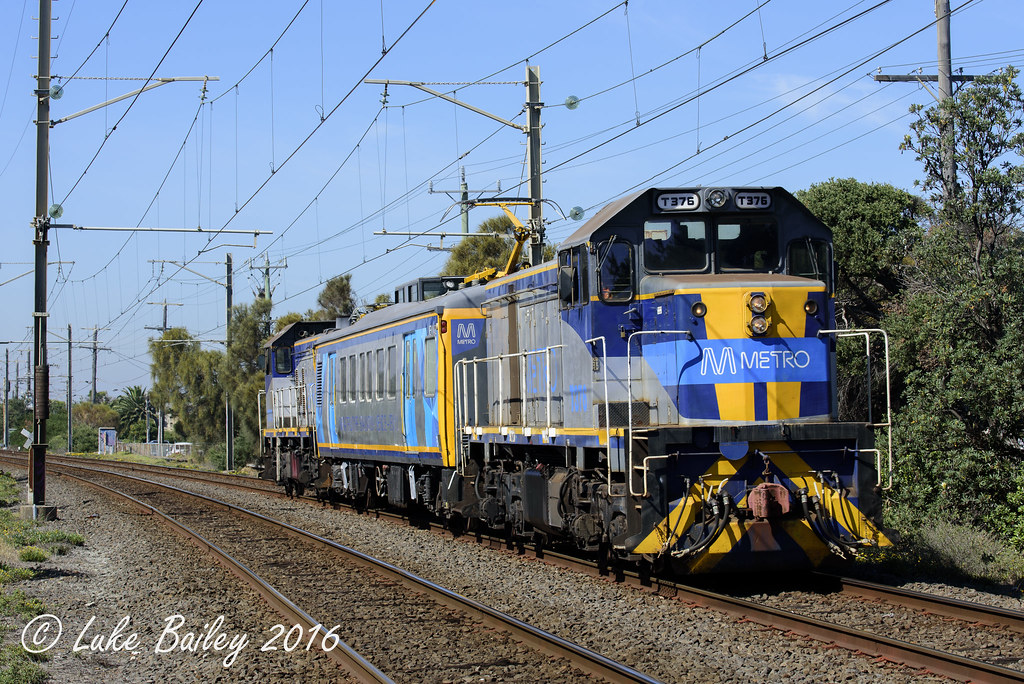 T376-IEV102-T373 with #7406 up infrastructure evaluation run from Frankston near Bonbeach by Luke's Rail Gallery
