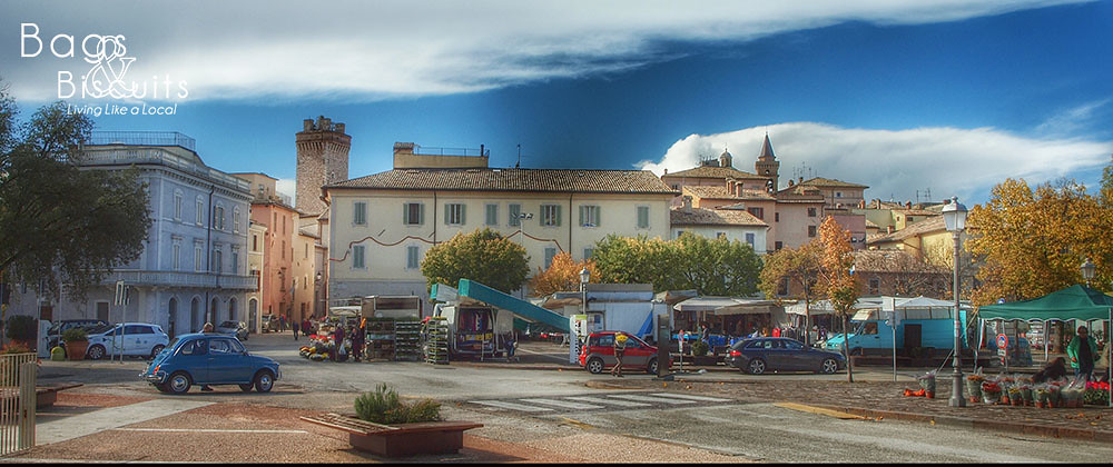The weekly market in Trevi, Umbria, Italy