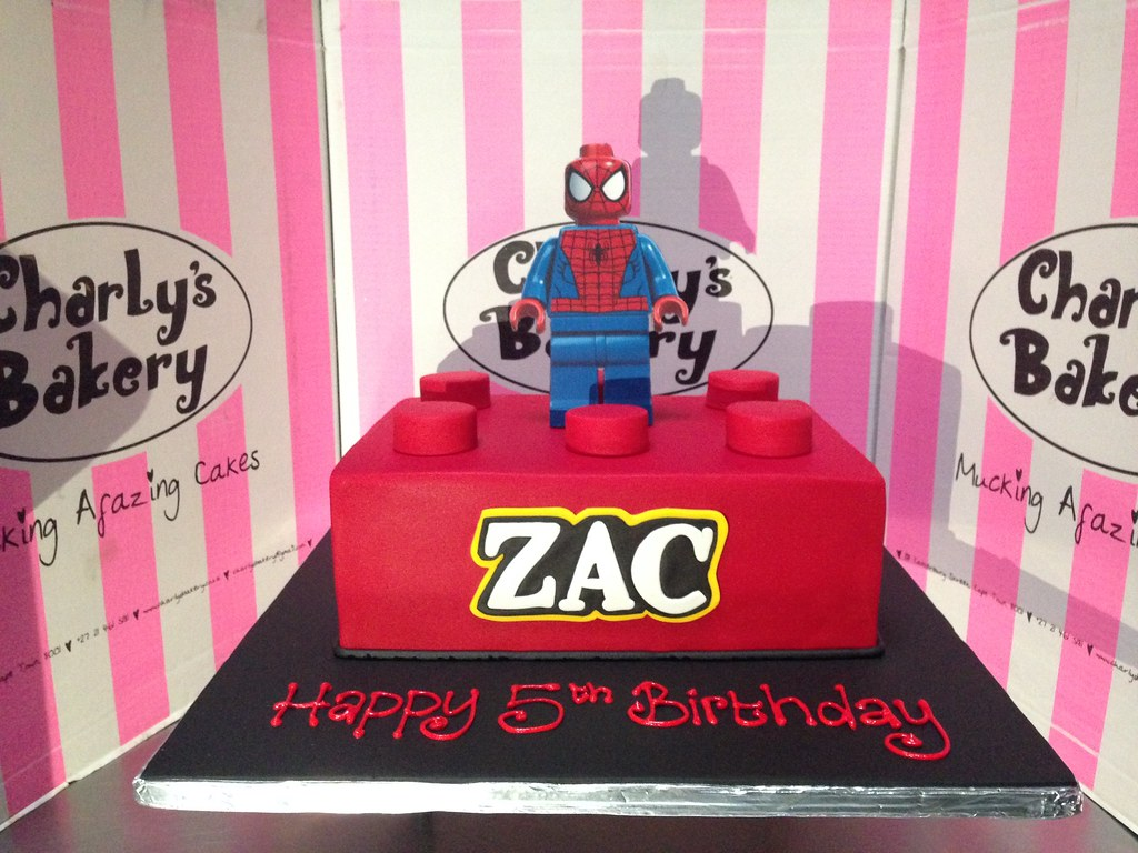 A4 Size Lego Block Spiderman Themed 5th Birthday Cake With Flickr