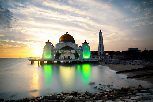 architecture asia beach blue building dawn dome dusk floating historical islam islamic landmark landscape malacca malaysia masjid melaka monument mosque muslim night ocean outdoor religion religious scene scenery sea selat sky straits sunset symbol tourism travel twilight view my wow