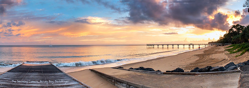 morning art beach sunrise fuji image pano australia panoramic queensland herveybay xe1 cloudsstormssunsetssunrises