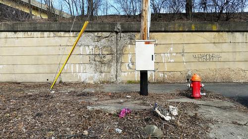 abstract alley deadpan debris dirt geometric graffiti landscape litter northside pittsburgh urban urbanlandscape wall