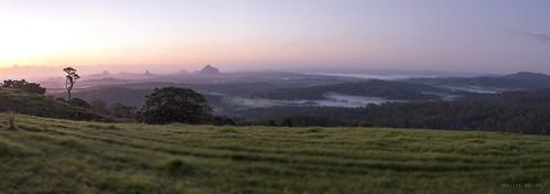 morning panorama blur fog sunrise tracks glasshousemountains glasshouse sunshinecoast maleny mounttibrogargan mountbeerwah mountcoonowrin mountngunngun