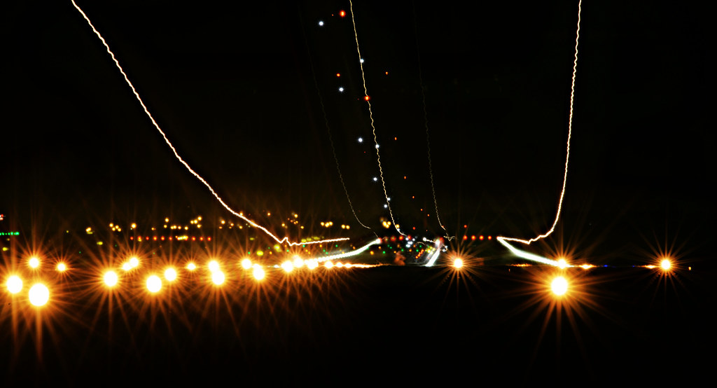 Landing lights | Shown are the light trails of two aircraft … | Flickr