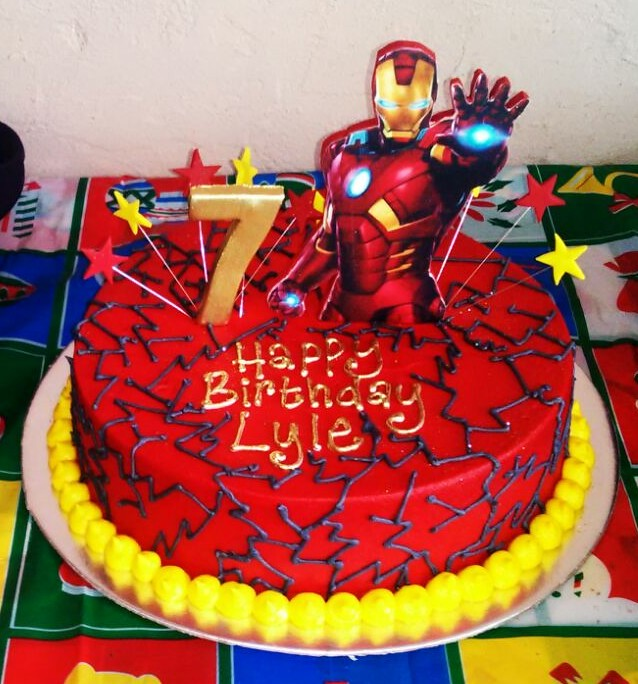 Iron Man Themed 7th Birthday Cake In Red Butter Icing With Grey Piped Cracks 2D