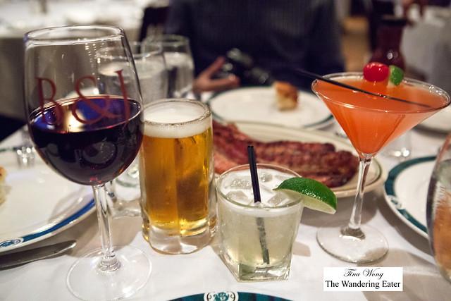 Our drinks - Pinot Noir (Robert Mondavi), Goose Island Beer, Margarita, Brazilian Cosmopolitan