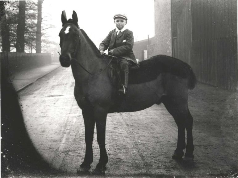 Boy on horse, Walkergate, Beverley circa 1900 (archive ref DDX1319-1-EYC1)