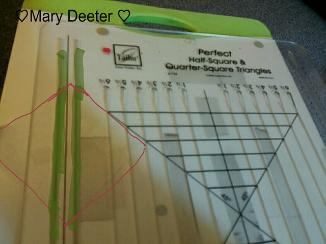 Working on marking my HST. Love using the June Tailor perfect HALF-Square and Quarter square Triangle Ruler,need 715 of these.