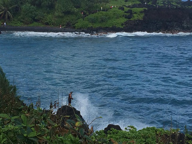 A brave fisherman at Wai'anapanapa