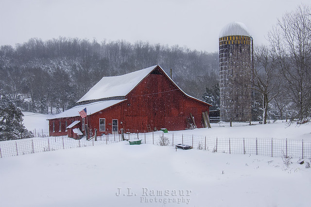 Snow Covered Red Barn