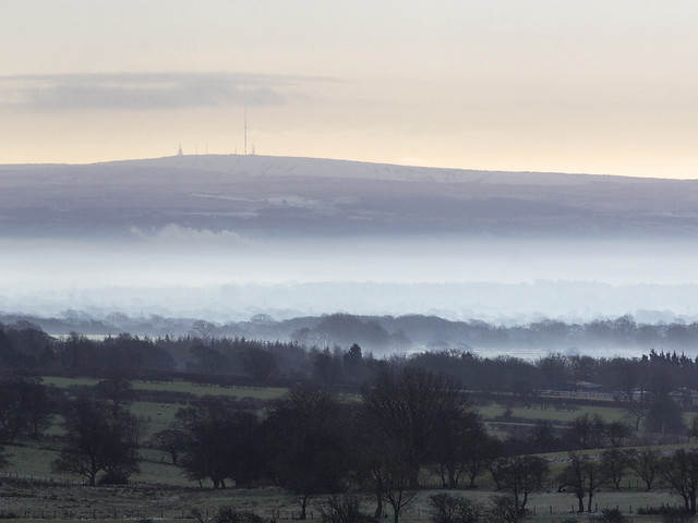 Winter Hill seen from Nicky Nook, Scorton, Forest Of Bowland AONB, Lancashire, UK