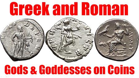 List of GODS & GODDESSES on Ancient Greek & Roman Coins fo