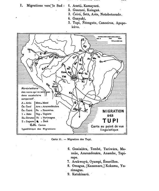 Migration des Tupi. Carte au point de vue linguistique