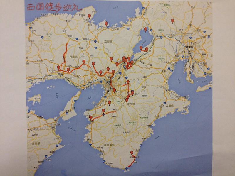 西国三十三所徒歩巡礼地図