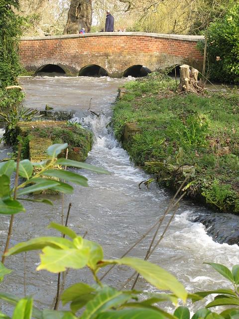 Bridge over Test River in grounds of Mottisfont Abbey Gardens, from street outside gardens SWC Walk 58 Mottisfont and Dunbridge to Romsey taken by Karen C.