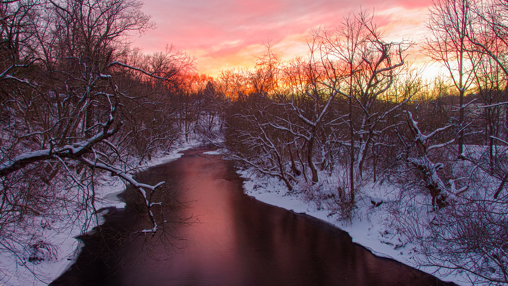 Fiery Sunset After the Snow