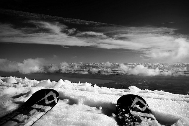 Skiing with a view B&W
