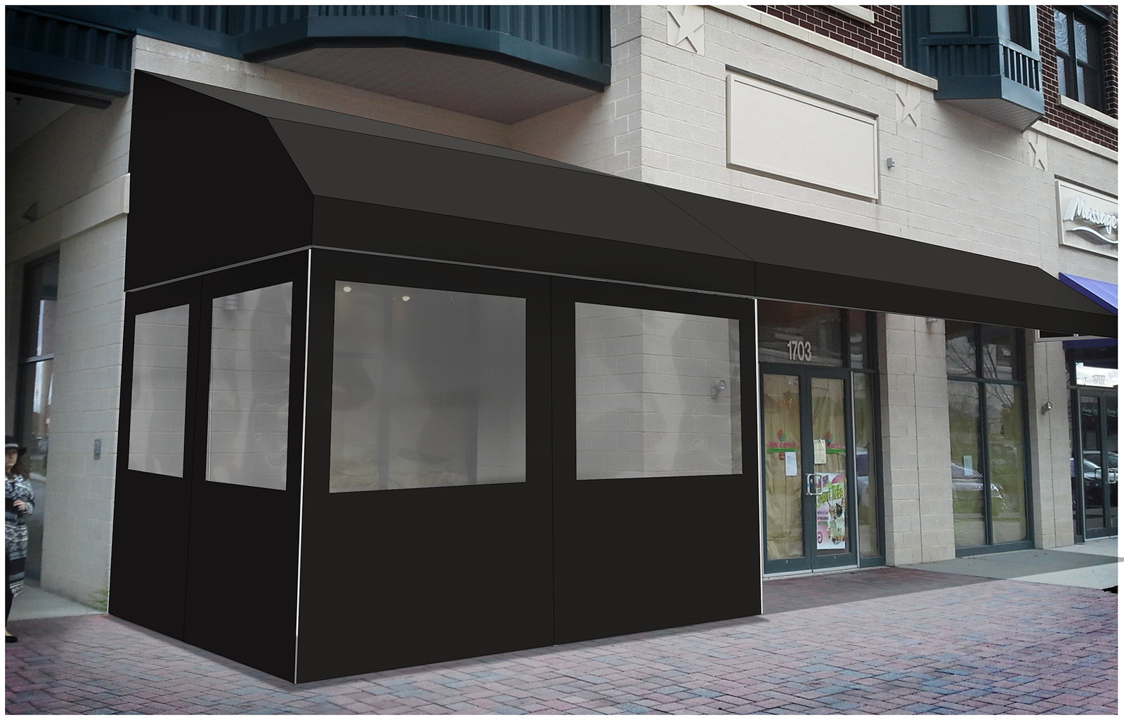 Rendering Awning Enclosure with Curtains