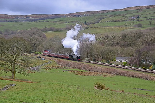 West Country Bulleid Pacific Loco 'City of Wells' approaches Irwell Vale, with the last train of the day to Rawtenstall, on the East Lancs Railway. 27 03 2016