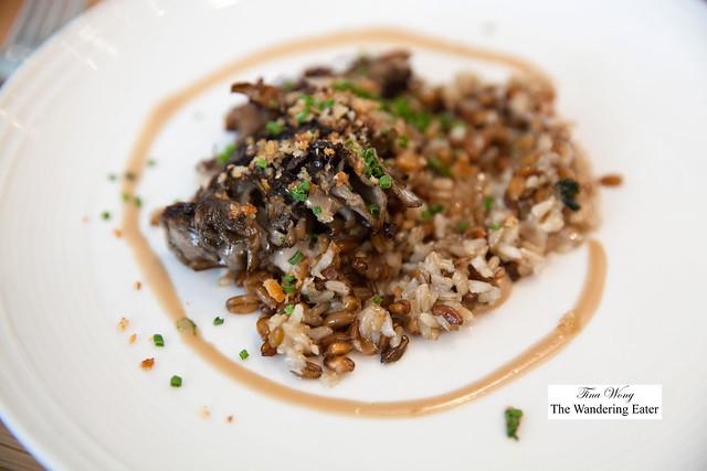 Maitake mushroom, freekeh, green garlic