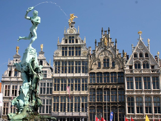 Brabo Fountain and Grote Markt, main square of Antwerp