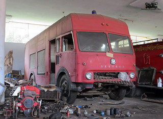 Classic tender: Bangladesh Fire Service and Civil Defence (FSCD)  1966 Bedford TK at Khulna Fire Station