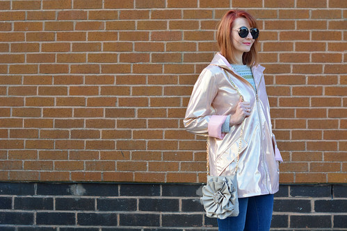 Rose gold metallic rain coat, flared jeans, Converse   Not Dressed As Lamb   by Not Dressed As Lamb