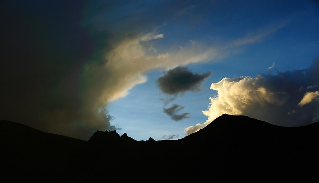 Wave of elements at sunset, Tibet 2015