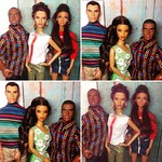 Families: (L) Star with parents Tony & Lena Johnson. (R) Tobias with parents Angela & Miles Alsford #colorinfusiondoll #barbiestardoll #007barbie #powerteamactionfigure #barbieashamold #dollstagram #instadoll #dollphotography #onesixthscale (I'm too lazy
