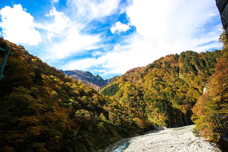 黒部峡谷トロッコ電車の風景