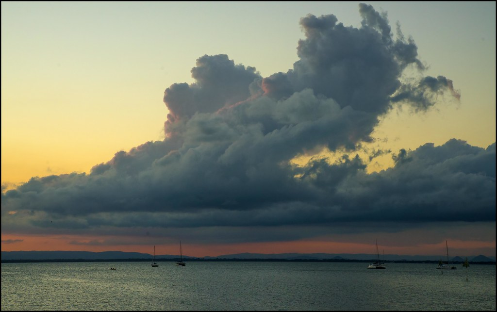 Sunset behind thick cloud Deception Bay-1
