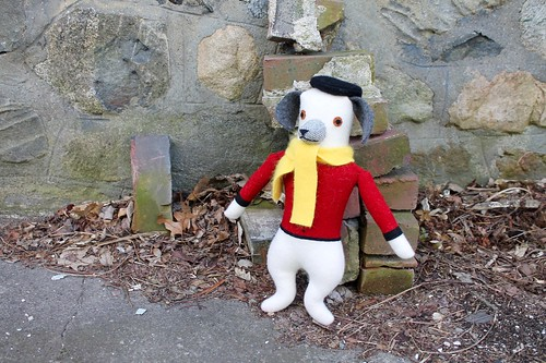 white dog, red shirt, yellow scarf | by Mimi K