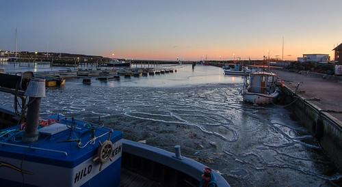 sunset sea cold ice water boat skåne waterfront sweden harbour outdoor viken höganäs