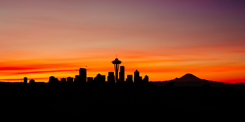 cityscape seattle silhouette pacificnorthwest longexposure bwnd1000x canoneos5dmarkiii canonef2470mmf28lusm clouds colorful spaceneedle mtrainier kerrypark sunrise washington