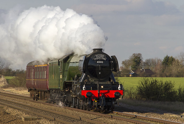 LNER Class A3 Pacific steam locomotive No. 60103 'Flying Scotsman' passing through Abbots Ripton.