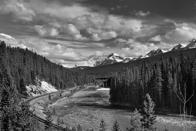 The Other View at Morant's Curve (Black & White, Banff National Park)