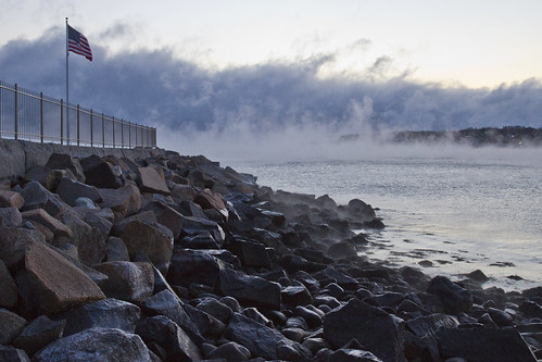 ocean winter sea sky cold water fog bay coast seaside waterfront outdoor massachusetts freezing steam arctic coastal shore frigid seashore rockport seasmoke arcticmist arcticsteam