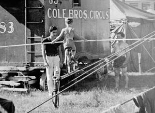 Child on a bicycle, practicing balancing on narrow beam at the Cole Bros. Circus / Un enfant sur une bicyclette s'entraîne à rester en équilibre sur une poutre étroite au cirque Cole Bros.