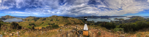 new sky green clouds trek volcano cone harbour top hill zealand nz otago dunedin hdy