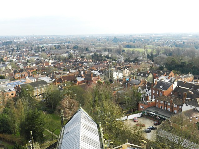 Ariel view of Warwick, from the tower of the Collegiate Church of St Mary, Warwick, Feb 2016