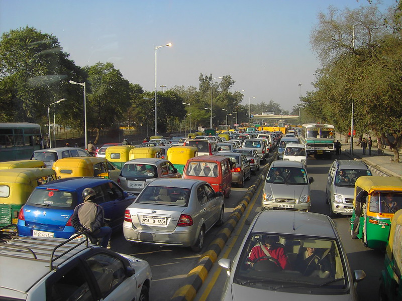 New Delhi traffic.