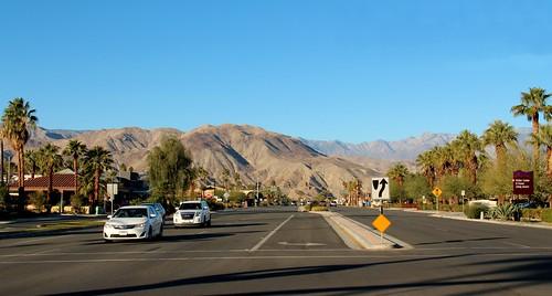 california road ca street blue sky mountain psp highway view desert outdoor sunny palm springs mirage rancho konomark