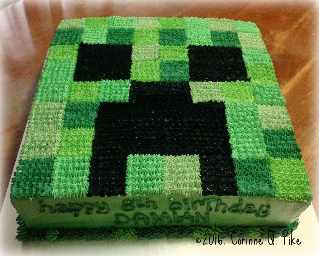Outstanding Minecraft Creeper Birthday Cake Pike Corinne Flickr Personalised Birthday Cards Paralily Jamesorg