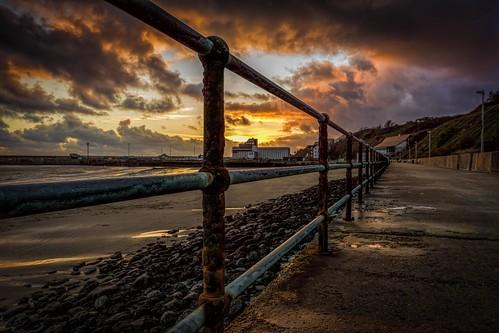 winter sunset sea england water clouds kent nikon rocks harbour path railings folkestone lr6 d7100 topazadjust topazclarity sigma1750f28exdcoshsm